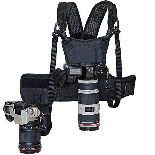 (Nicama Dual Camera Strap Multi Carrier Chest Harness Vest with Mounting Hubs, Side Holster & Backup Safety Straps for Canon 6D 5D2 5D3 Nikon D800 D810 Sony A7S A7R A7S2 Sigma Olympus DSLR Cameras)
