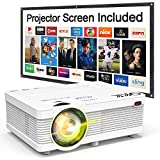 "QKK 2019 Newest, Mini Projector with Projector Screen, 176"" Projection Size, 1080P Supported"