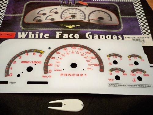 96 97 98 Chevy GMC Silverado, Suburban, Tahoe, Yukon, Sierra, CK; 98 99 00 Denali, Escalade White Face Gauges in KPH 15rkm