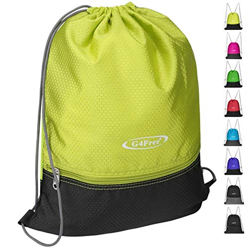 G4Free Gymbag Large Drawstring Backpack String Bag Sports Athletic Cinch Sack Gymsack Sackpack for Shopping Sport Yoga (Green-Black) -