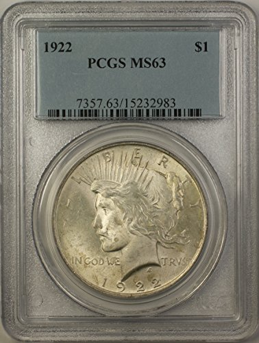 1922 Peace Silver Dollar Coin (ABR11-D) $1 MS-63 PCGS