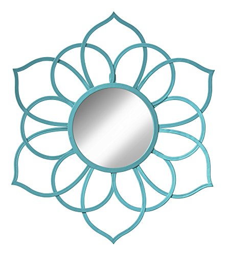 Kate and Laurel 208380 Brienne Metal Flower Round Wall Accent Mirror, - Mirror Teal