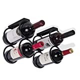 vertical hanging wine rack - Wallniture Under Cabinet Durable Iron Vertical Wine Storage Rack for Liquor Bottles Black (2)