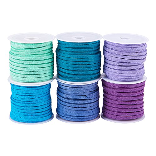 PandaHall Elite 6 Rolls 3mm Lace Faux Leather Suede Beading Cords Velvet String 5.5 Yard per Pack Mixed Colors 6