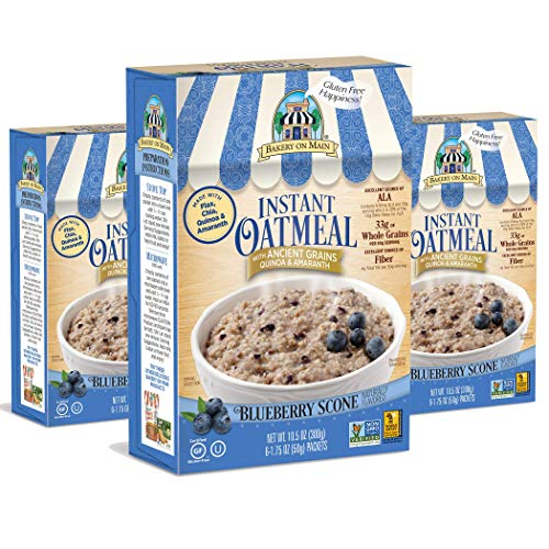 Blueberry Scone - Bakery On Main Gluten-Free, Non-GMO Ancient Grains Instant Oatmeal, Blueberry Scone, 10.5 Ounce/6 Count Box (Pack of 3)