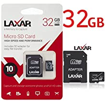 LAXTEK Ultra 32GB Micro SD TF Memory Card Class 6/10 with Micro SD to SD Adapter High Performance SD Card - Full HD & 4K Photos & Video Storage (32GB)