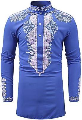 Men Fashion African Tribal Dashiki Long Shirt Traditional Ethnic Slim Fit Shirts