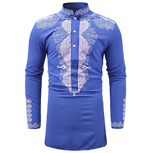 - 2019 New Hot Personality Mens Luxury African Print Long Sleeve Dashiki Shirt Top Blouse by G-Real Blue