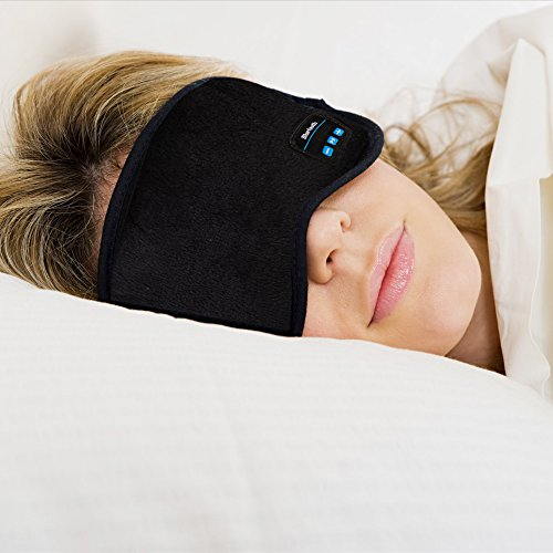 Bluetooth Sleeping Eye Mask Headphones,Lavince Wireless Bluetooth Headphones Music Travel Sleeping Headset 4.1 Bluetooth Eye Mask Handsfree Sleep Eye Shades Built-in Speakers Microphone Washable Black