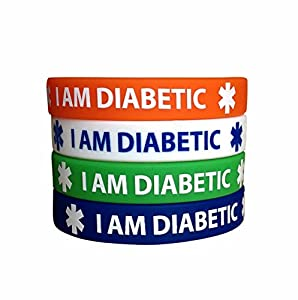 I Am Diabetic Silicone Bracelets (4 Pack) Adult Size Blue, Green, Red and White