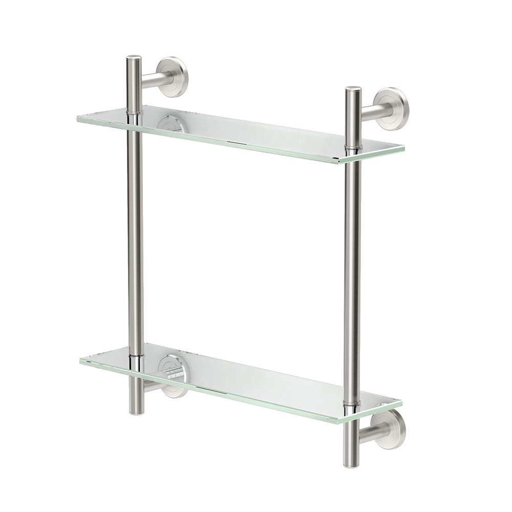 """Gatco 1392SN Latitude II 17"""" L Two-Tier Glass Shelf, Satin Nickel"""