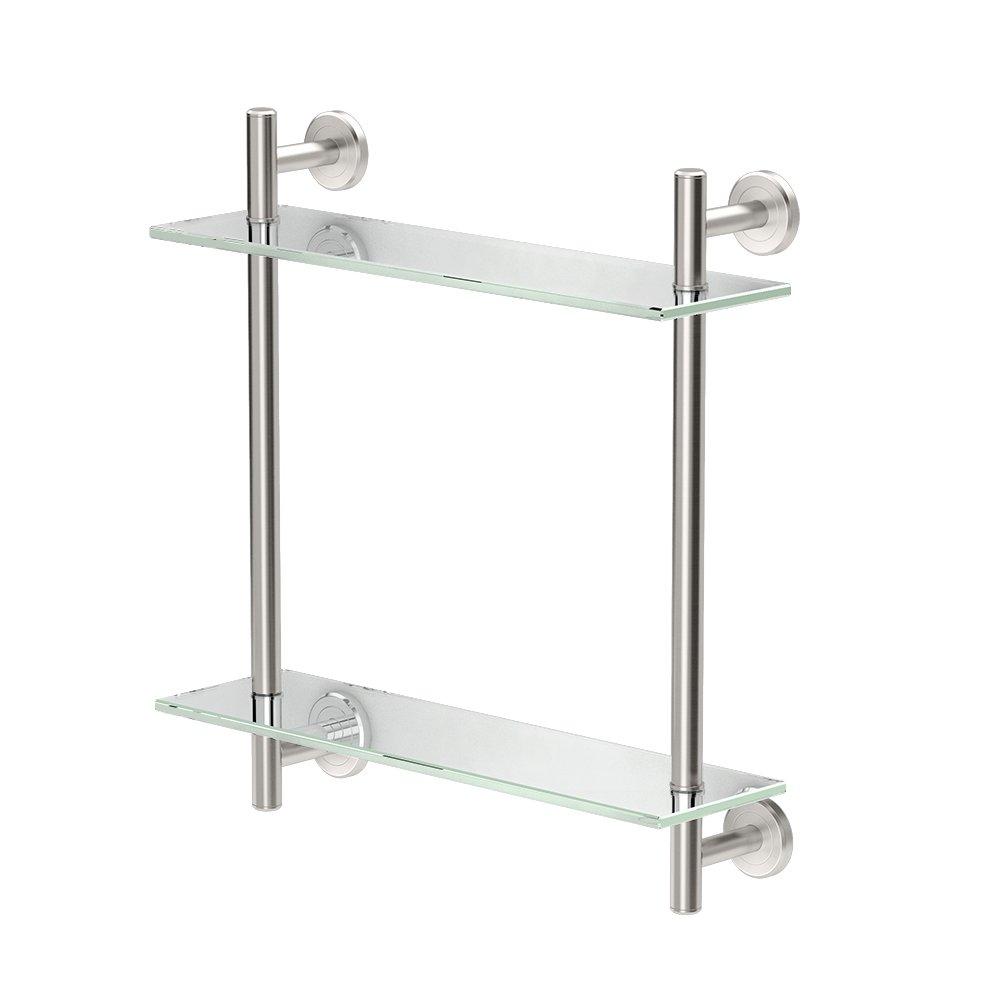 Gatco 1392SN Latitude II 17'' L Two-Tier Glass Shelf, Satin Nickel