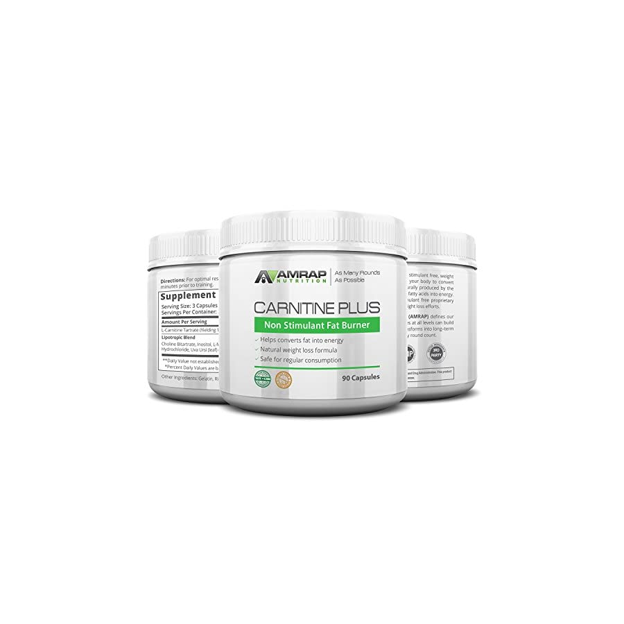 AMRAP Nutrition Carnitine Plus Natural Pre workout Weight Loss Supplement Converts Fat into Energy Lipotropic Blend for Accelerated Weight Loss