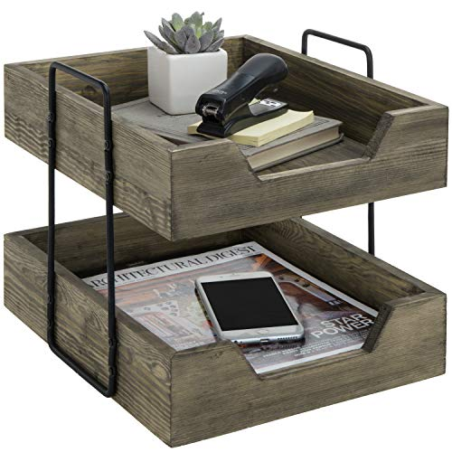 MyGift 2-Tier Vintage Gray Wood and Metal Wire Document Organizer Rack