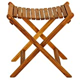 Bare Decor Wyatt Folding Stool for Indoor or Outdoor Use, Teak