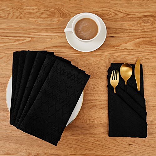 Deconovo Soft Jacquard Damask Dinner Cloth Napkins with Diamond Patterns 18 x 18 inch Stain and Spillproof Smooth Luxury Serviette for, Banquets, Weddings, or Family Gatherings Set of 6 Black