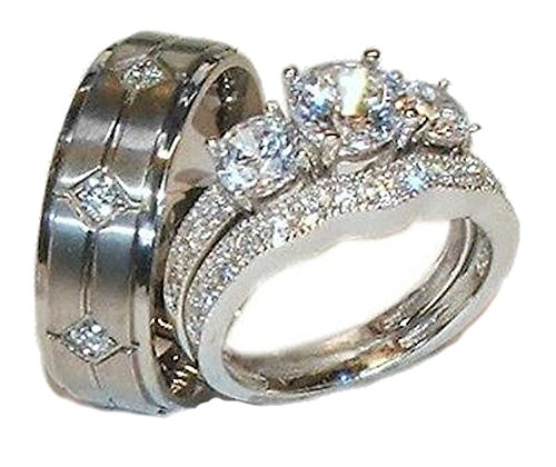 EEJ His and Hers Sterling Silver Wedding Ring Set 3 Piece 925 Sterling Silver & Titanium Cz Cubic Zirconia Wedding Ring Set
