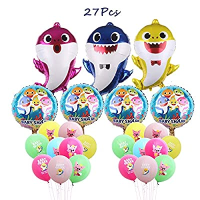 Borang Baby Shark Balloons 27 Pack Shark Balloons for Kids Birthday Party Favor Supplies Decoration Perfect for Your Baby Shark Theme Party: Toys & Games