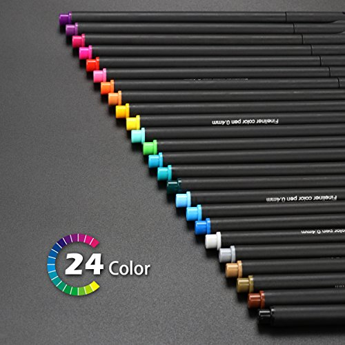 24 Fineliner Colors Drawing Pen, 0.4mm Tip Sizes, for Coloring Book Bullet Journal Art Projects