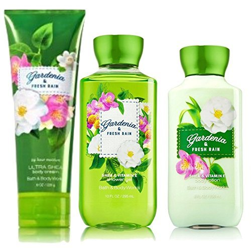 - Bath and Body Works Gardenia & Fresh Rain 3 Piece Gift Set - Lotion, Body Cream and Shower Gel