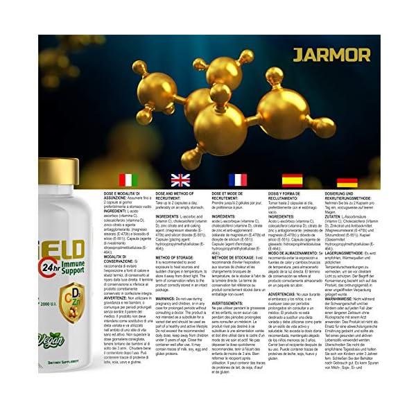 Supplément Jarmor VITAMINE C 1000 mg | VITAMINE D 2000 UI | ZINC 100% haute dose 60cps Vegan