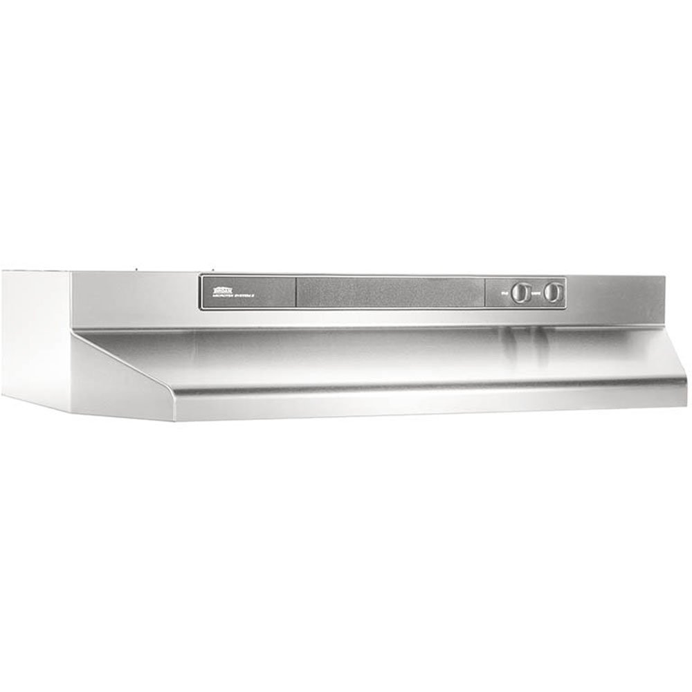 "Broan 464204 Stainless Steel Convertible Range Hood Insert with Light, Exhaust Fan for Under Cabinet, 7.5 Sones, 220 CFM, 42"""