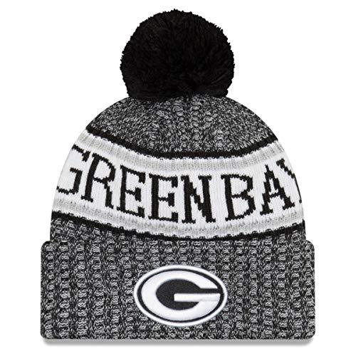 New Era Green Bay Packers Black & White Sport Knit NFL 2018 Beanie Unisex Hat Graphite, ()