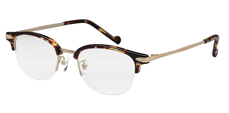 鯖江ワークス(SABAE WORKS) 老眼鏡 サーモント ハーフリム ケース付き RN1043 (度数+1.00, ブルーライトカット) 度数+1.00 ブルーライトカット B01BIDWP82