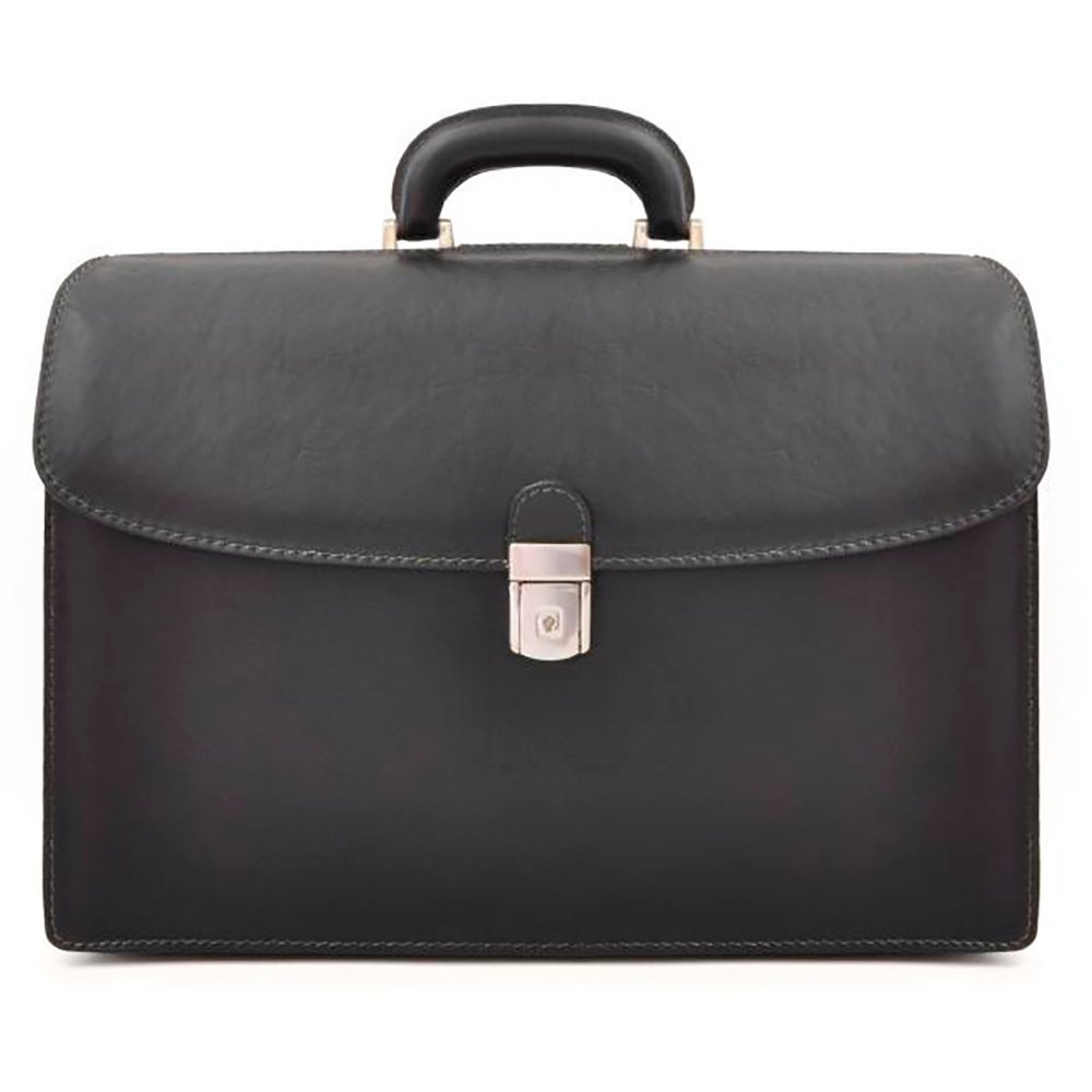 Pratesi Mens [Personalized Initials Embossing] Italian Leather Bruce Leonardo Double Sided Lawyers Laptop Briefcase in Black