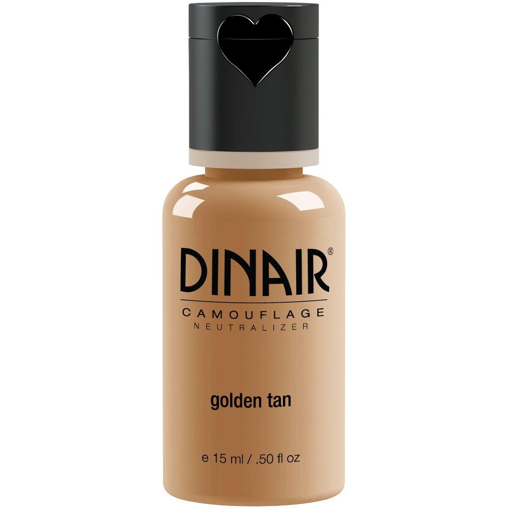 Dinair Airbrush Makeup Foundation | Golden Tan 0.50 oz | Camouflage Neutralizer - Covers Scars, Acne, Tattoos, Vitiligo, Under Eye circles, Sun Spots