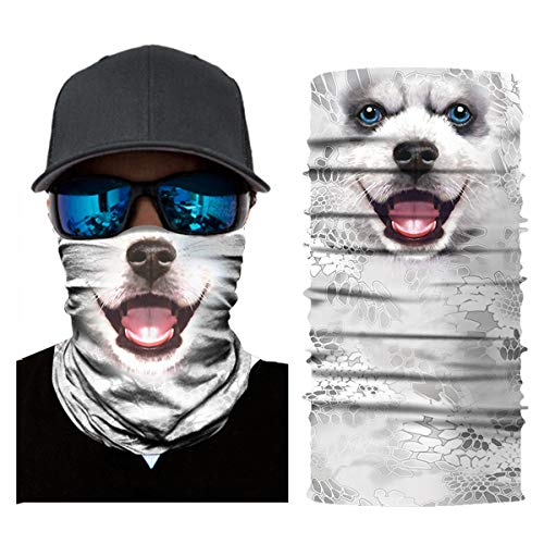 3D Fishing Face Sun Mask,Headwear,Head Wrap,Neck,Gaiter,Scarf,Tube Mask,Bandana Mask,Balaclava,Sport Hair Bands,Guys Headband for Running Hiking Cycling Motorcycling Riding (Light Typhon Samoyed)