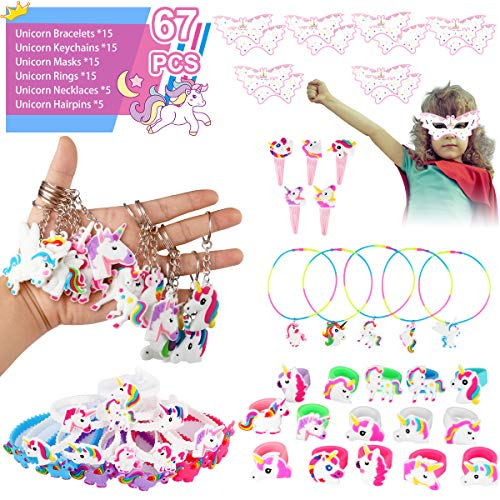 Unicorn Party Supplies Birthday Party Favors 67pcs Unicorn Theme Sets Includes Unicorn Masks Hairpins Necklaces Keychains Bracelets Rings - Novelty Decoration Toys Rainbow Prize Gifts for Kids Girl