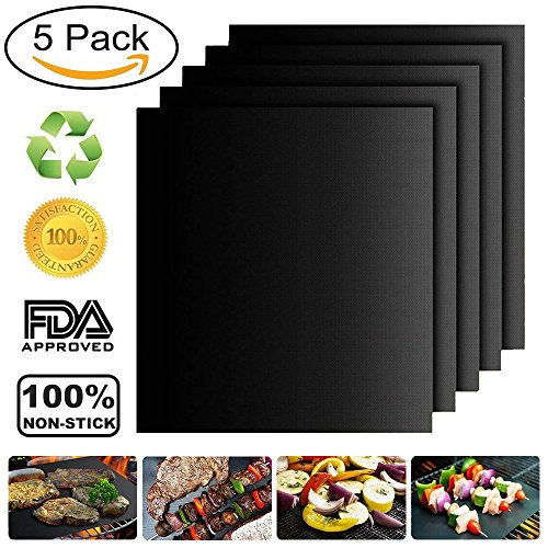 Orainya BBQ Grill Mat Set of 5,Non-Stick BBQ Grill Mat Heat Resistant Mats Baking Mat,FDA-Approved Washable Reusable and Easy to Clean for Gas, Charcoal, Electric Grill. by Orainya