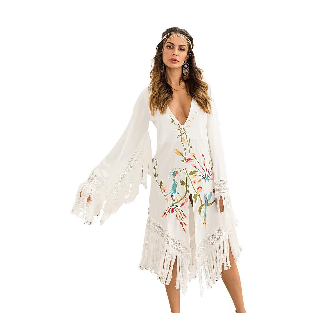 Europe and America Tassel Dress Embroidery Flower Belt Mid Skirt VNeck Women's Clothing Female Loose White Traditional Skirt Sun Predection Skirt Beach Dress