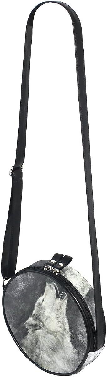 XinMing Happy Rainbow Unicorn Girl Round Crossbody Shoulder Bags Adjustable Top Handle Bags Satchel for Women
