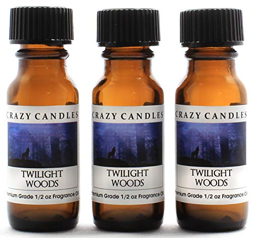 Juicy Apricot - Crazy Candles Twilight Woods 3 Bottles 1/2 Fl Oz Each (15ml) Premium Grade Scented Fragrance Oil (Juicy Berry of Mimosa, Apricot, Sandalwood and Musk)