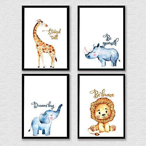 Safari Nursery Print, Bedroom Bathroom Decorations, Giraffe Lion Rhino Elephants Print, Animal Wall Art, Minimalist Printables, Watercolor Poster, Jungle Animal Art - Set of 4-8x10 - Unframed