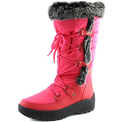 Women's DailyShoes Woman's Knee High Up Warm Fur Water Resistant Eskimo Snow Boots, Hot Pink 7.5 B(M) US