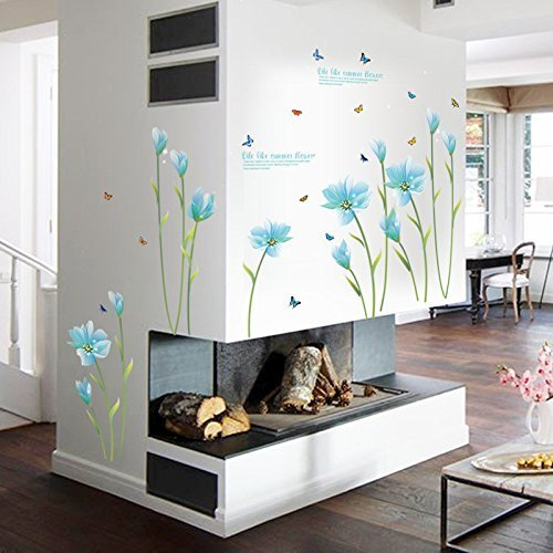 M$M shop 3D Blue Lily Flower Sticker Mural dly Living Room Bedroom Sofa Background Wall art Home Decoration Wall Decals (Rossi Glow Plug)