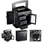 Yescom Wooden Jewelry Box Built-in Mirror Ring Earring Necklace Organizer Storage Case Black