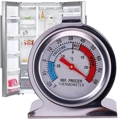 1pc Kitchen Craft Stainless Steel Refrigerator /& Freezer Dial Thermometer