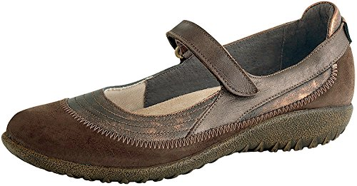 Stitch Shimmer (Naot Women's Kirei Mary Jane Flat, Burnt Copper Leather/Cocoa Suede/Brown Shimmer Nubuck, 39 EU/7.5-8 M US)