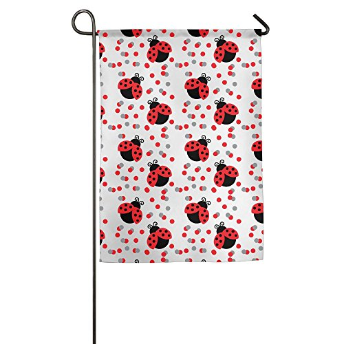 Seamless Spot Red Ladybug Polyester Garden Flag House Banner For Party Yard Home Outdoor Decor Ladybugs Banner Flag