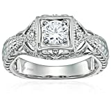 Sterling Silver Cubic Zirconia Vintage Wedding Engagement Ring, Size 7