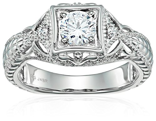 Sterling Silver Cubic Zirconia Vintage Wedding Engagement Ring, Size 6 Vintage Cubic Zirconia Rings