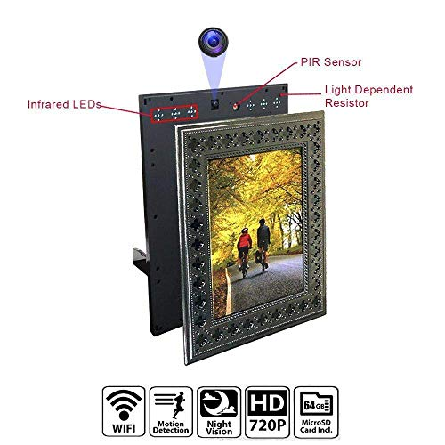 NuCam Yieye WiFi Photo Frame Hidden Spy Camera for Home/Office Security & Pet/Kid Surveillance w. 720P HD, 365 Days Battery Life, Night Vision & Instant Alerts(Bonus 64GB SD Card Included) from NUNET