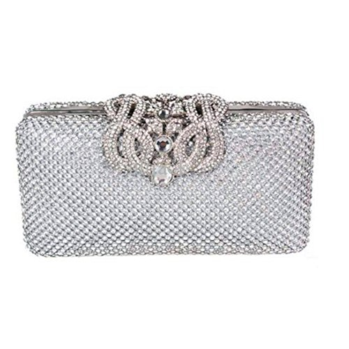 - Eleoption Luxury Women's Bling Glitter Purse with Crown Design Dazzling Crystal Diamante Encrusted Evening Bag Clutch Bridal Prom for Cocktail Party Wedding Evening (Silver)