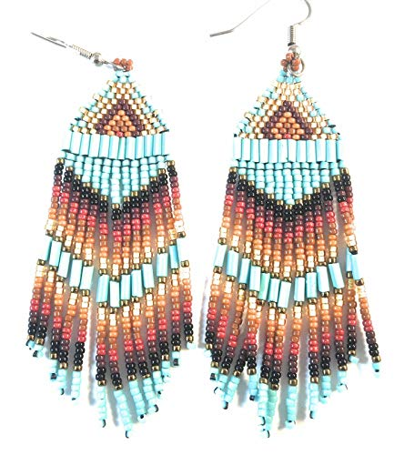 Navajo Multi Stone And Sterling Silver Beaded Dangle Earrings from Nizhoni Traders LLC