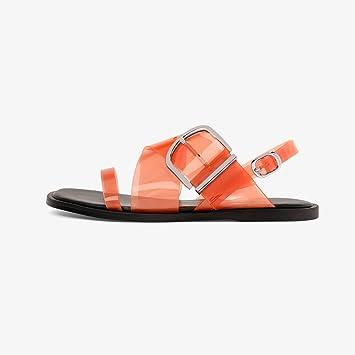 YQQ Sandalias Planas con Punta Abierta Elementos Cruzados Transparentes Zapatos Planos Sandalias De Primavera Y Verano