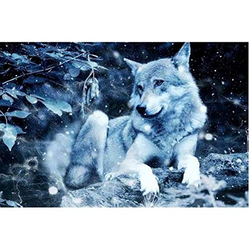 Diamond Painting Kits for Adults Diamond Painting Full Drill - Arctic Chill Wolf, Home Wall Decor, Easy to Complete (15.7x10.5 in)